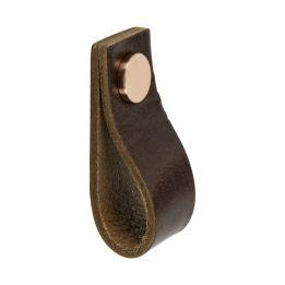 Leren Lus 65x25x25mm bruin    / koper