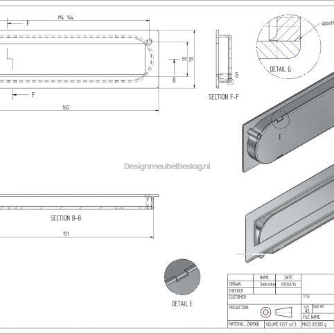 Infreesgreep 50x144x160mm RVS look